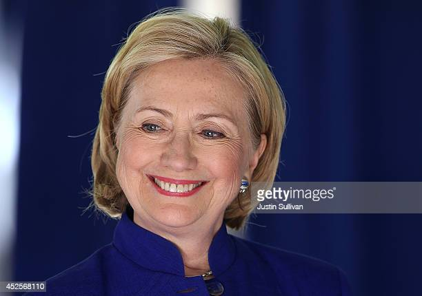 Former Secretary of State Hillary Clinton speaks during news conference following a round table event to launch the 'Talking is Teaching Talk Read...