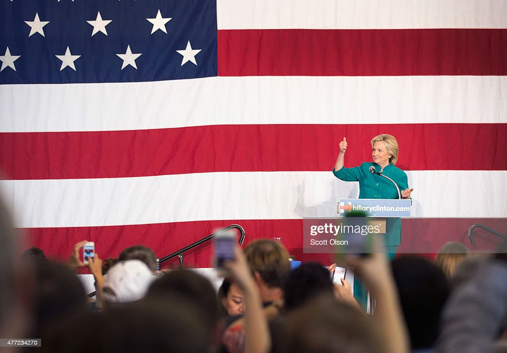 Former Secretary of State Hillary Clinton speaks to supporters during a campaign event at the the Elwell Family food Center at the Iowa State Fairgrounds on June 14, 2015 in Des Moines, Iowa. Clinton officially kicked off her 2016 bid for the White House yesterday during an event on New Yorks Roosevelt Island.