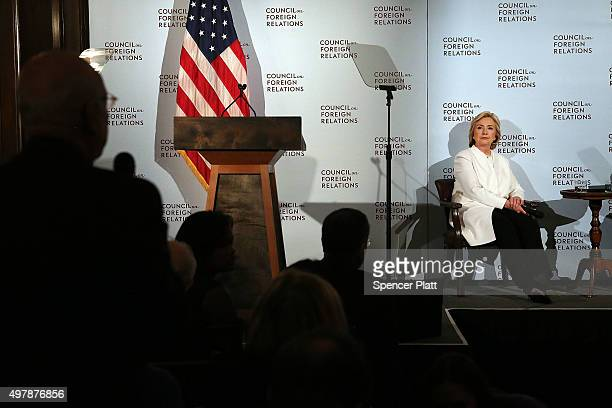 Former Secretary of State Hillary Clinton takes questions after delivering a speech on her approach to defeating the Islamic State terrorist network...
