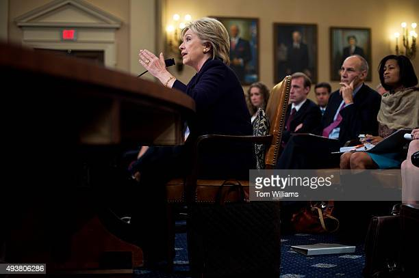 Former Secretary of State Hillary Clinton testifies during a House Select Committee on Benghazi hearing in Longworth Building October 22 2015 The...