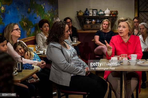 JENKINSTOWN PENNSYLVANIA Former Secretary of State Hillary Clinton with advocate Lilly Ledbetter at her side has a conversation about equal pay for...
