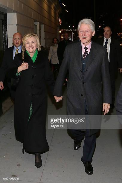 Former Secretary of State Hillary Rodham Clinton and former President of the United States Bill Clinton attend a showing of The Last Ship after the...