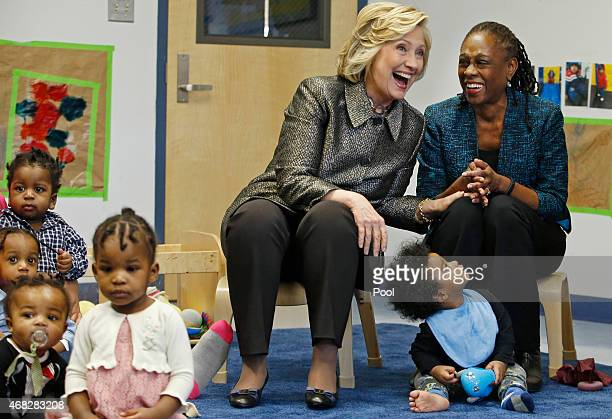 Former Secretary of State Hillary Rodham Clinton and New York City first lady Chirlane McCray share a laugh during a visit to an early childhood...