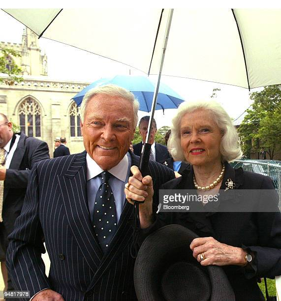 Former Secretary of State in the Reagan administration Gen Alexander M Haig Jr and wife leave National Cathedral after the funeral service of...