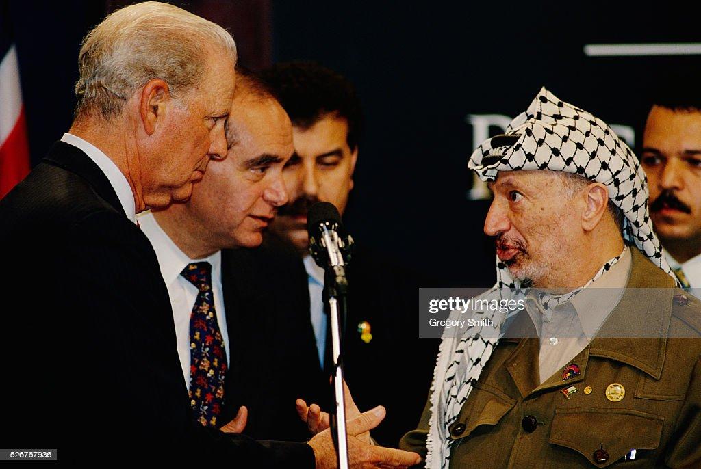 James Baker, Edward Djerejian, and Yasser Arafat at Rice University : News Photo