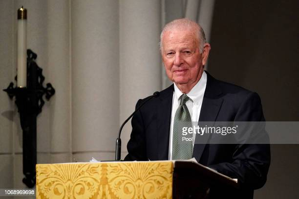 Former Secretary of State James Baker III gives a eulogy during the funeral for former President George HW Bush at St Martin's Episcopal Church on...