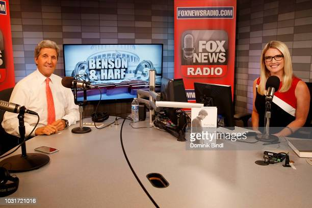 Former Secretary Of State John Kerry and Marie Harf Visit Benson Harf at Fox News Channel Studios on September 11 2018 in New York City