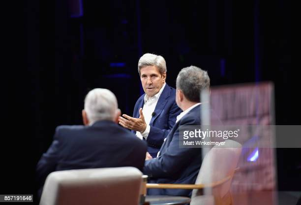 Former Secretary of State John Kerry CoFounder and CEO of the Rise Fund and CoFounder and Managing Partner of TPG Growth Bill McGlashan and President...