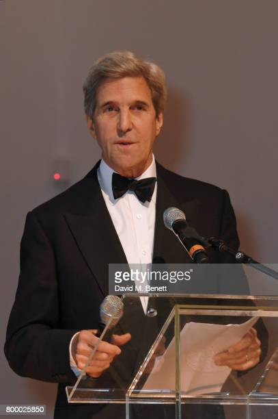 Former Secretary of State John Kerry speaks at the Woodside Gallery Dinner in benefit of Elton John AIDS Foundation in partnership with BVLGARI at...