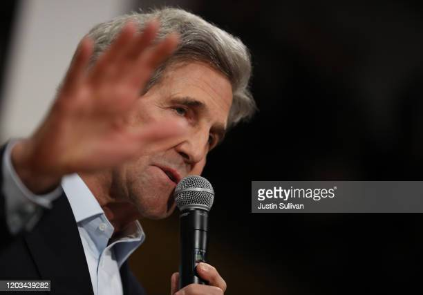 Former Secretary of State John Kerry speaks during a campaign event for Democratic presidential candidate former Vice President Joe Biden on February...