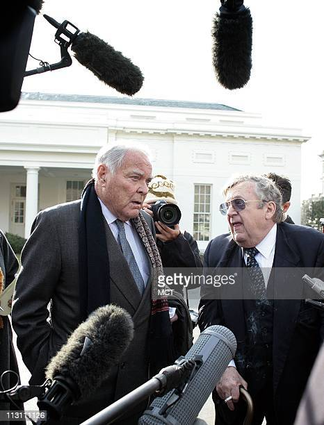 Former Secretary of State Lawrence Eagleburger and Alexander Haig talk to reporters as they depart the White House in Washington DC January 5 2006 US...