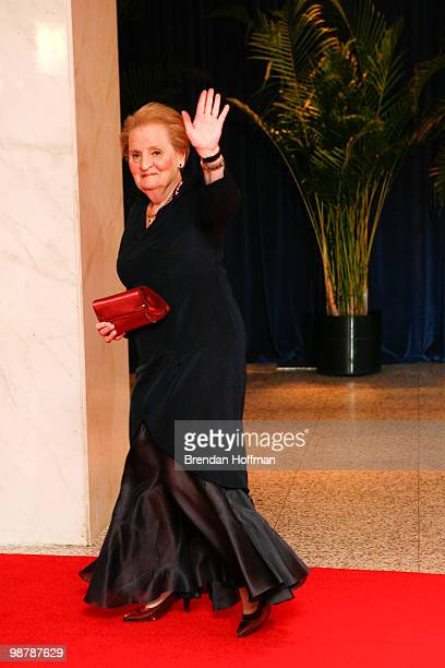 Former Secretary of State Madeleine Albright arrives at the White House Correspondents' Association dinner on May 1 2010 in Washington DC The annual...