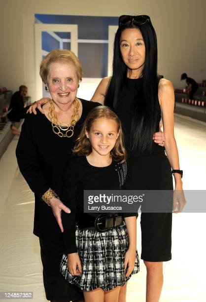 Former Secretary of State Madeleine Albright designer Vera Wang and Wang's graddaughter Ellie attend the Vera Wang Spring 2012 fashion show during...