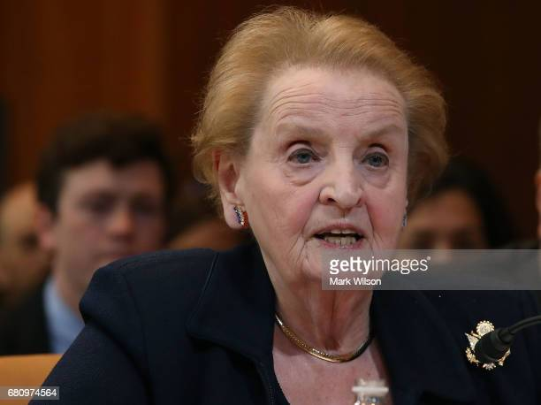 Former Secretary of State Madeline Albright testifies during a Senate Appropriations Committee hearing on Capitol Hill on May 9 2017 in Washington DC...