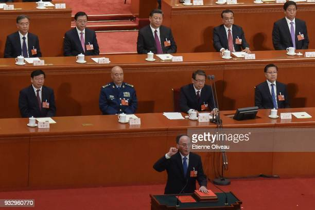 Former secretary of the Central Commission for Discipline Inspection Wang Qishan swears under oath after being elected as Chinese Vice President as...