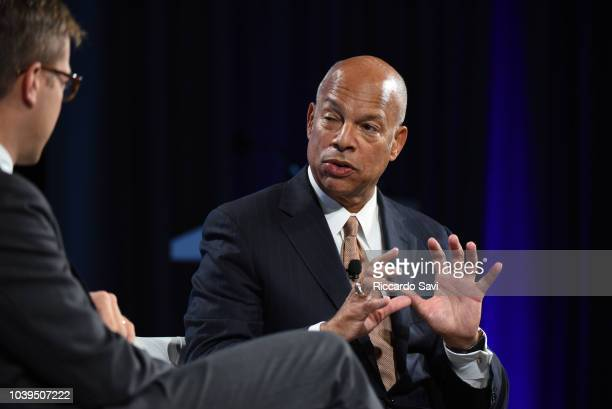 Former Secretary of the US Department of Homeland Security Hon Jeh Johnson speaks onstage during the 2018 Concordia Annual Summit Day 1 at Grand...