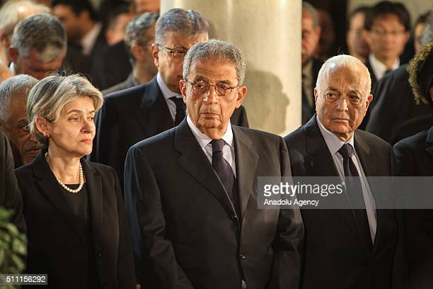 Former SecretaryGeneral of the Arab League Amr Moussa and SecretaryGeneral of the Arab League Nabil Elaraby attend the funeral ceremony held for the...