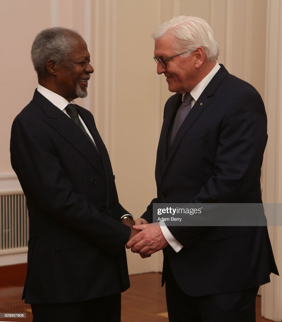 Former Secretary-General of the United Nations Kofi Annan (L) speaks to German President Frank-Walter Steinmeier as they attend a dinner in honor of former German President Horst Koehler during his 75th birthday at Bellevue Palace on March 8, 2018 in Berlin, Germany. Horst Koehler was president of Germany from 2004 to 2010.