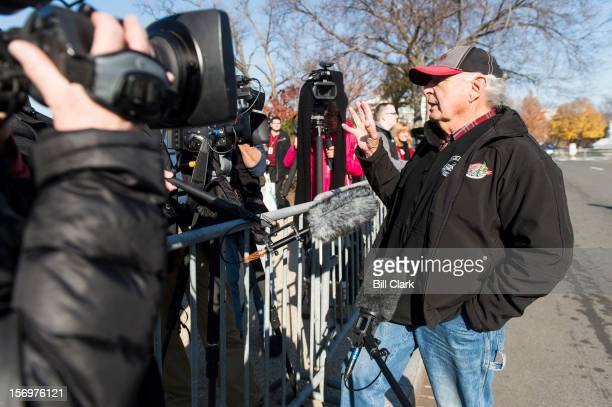 Former Sen Ben Nighthorse Campbell RColo speaks to the media during the arrival of the US Capitol Christmas Tree from Colorado on Monday Nov 26 2012...