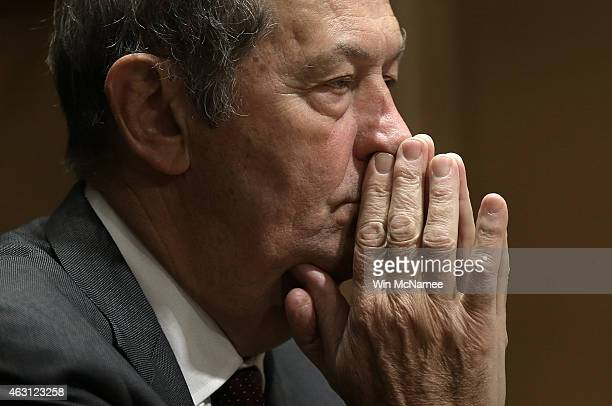 Former Sen Bill Bradley testifies before the Senate Finance Committee February 10 2015 in Washington DC The committee heard testimony on lessons...