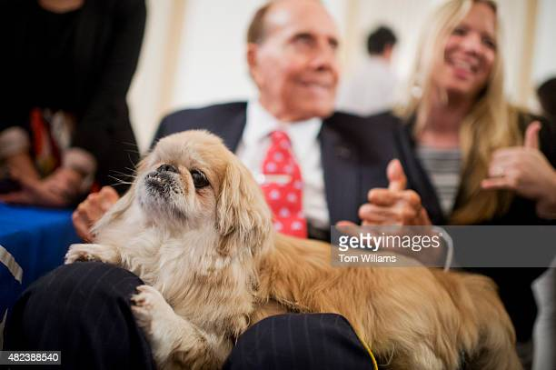 Former Sen Bob Dole RKan pets 'Milo' during the ASPCA's Fourth Annual Paws for Celebration pet adoption event in Cannon Building July 30 2015