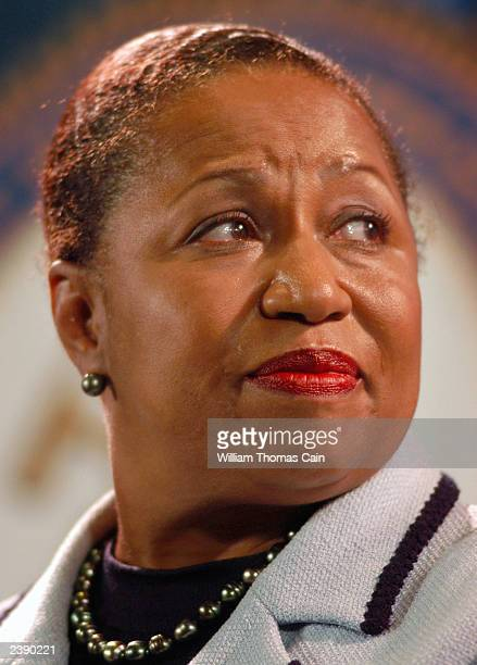 Former Sen. Carol Moseley Braun of Illinois listens to a question as during a town hall meeting of Democratic presidential candidates at the National...
