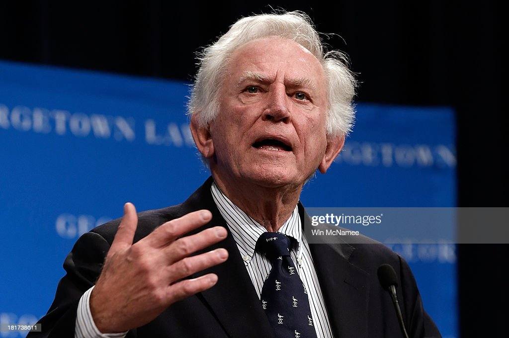 Former Sen. Gary Hart (D-CO) speaks at a Georgetown University Law Center discussion September 24, 2013 in Washington, DC. Hart joined former U.S. Vice President Walter Mondale and Sen. Patrick Leahy in discussing 'Surveillance and Foreign Intelligence Gathering in the United States: Past, Present, and Future.'