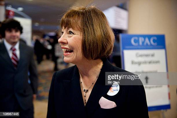 Former Senate candidate Sharron Angle, R-Nev., arrives for the CPAC meeting, held by the American Conservative Union in Washington on Thursday, Feb....