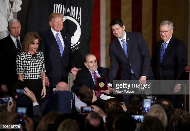 Former Senate Majority Leader Bob Dole recieves the Congressional Gold Medal during a ceremony at the US Capitol on January 17 2017 in Washington DC