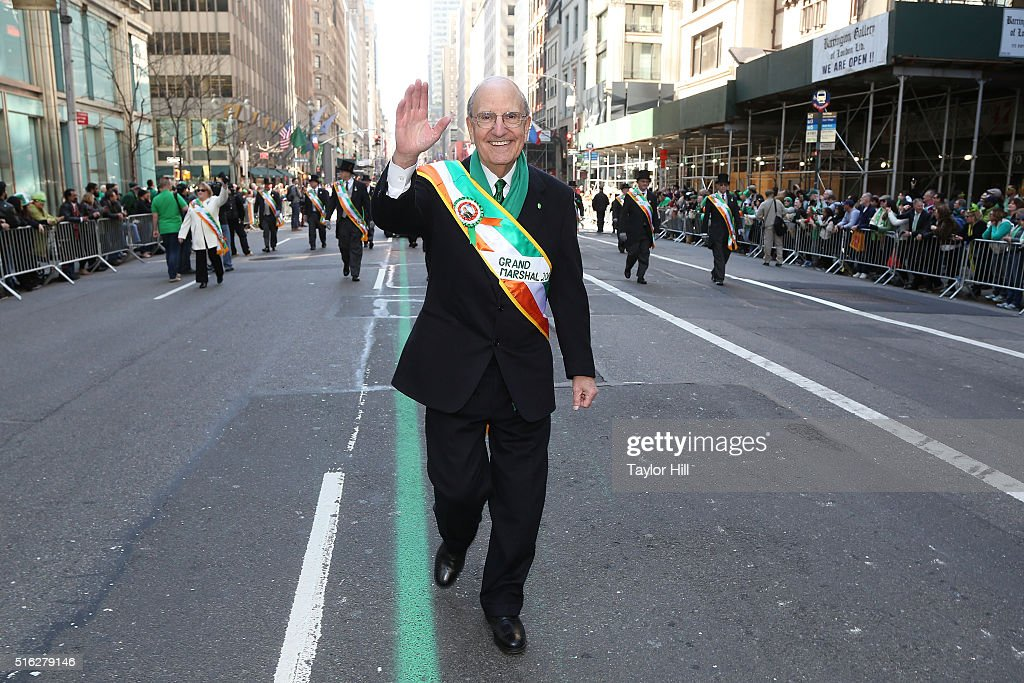 Former Senate Majority Leader George Mitchell marches up 5th Avenue during the 2016 St. Patrick's Day Parade on March 17, 2016 in New York City.