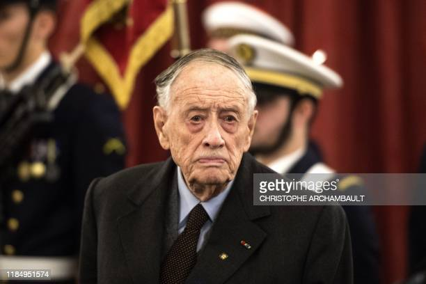 Former senator and son of the late General de Gaulle French Admiral Philippe de Gaulle arrives to attend a ceremony to unveil a commemorative plaque...
