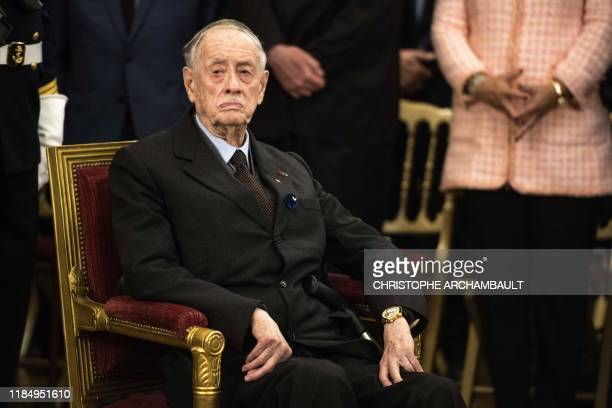 Former senator and son of the late General de Gaulle French Admiral Philippe de Gaulle attends a ceremony to unveil a commemorative plaque marking...