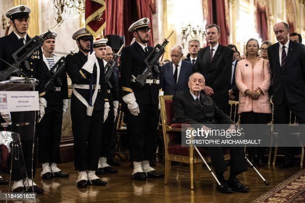 TOPSHOT Former senator and son of the late General de Gaulle French Admiral Philippe de Gaulle attends a ceremony to unveil a commemorative plaque...
