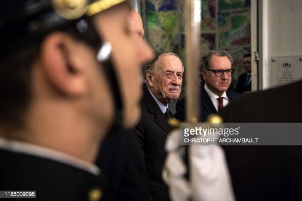 Former senator and son of the late General de Gaulle French Admiral Philippe de Gaulle and French National Assembly president Richard Ferrand attend...