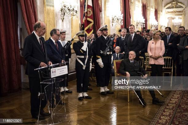 Former senator and son of the late General de Gaulle French Admiral Philippe de Gaulle listens as his son Yves de Gaulle delivers a speech during a...