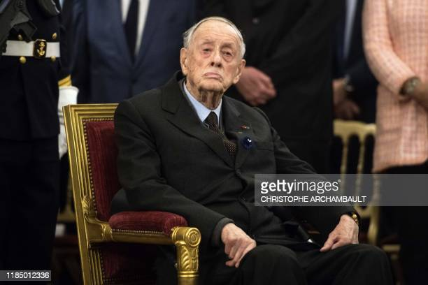 Former senator and son of the late General de Gaulle French Admiral Philippe de Gaulle looks on as he attends a ceremony to unveil a commemorative...