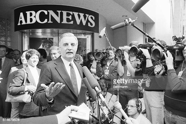 Former Senator and Vice President Walter Mondale talks with the press outside ABC News studios in Washington D. C. During his bid for the Presidency.