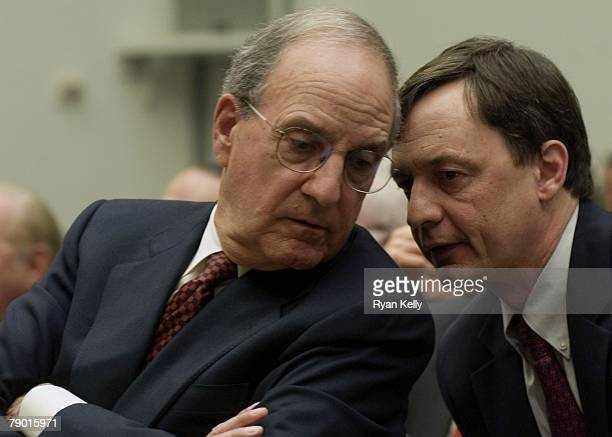 Former Senator George Mitchell during a House Committee on Oversight and Government Reform hearing on the findings of his report commissioned by...