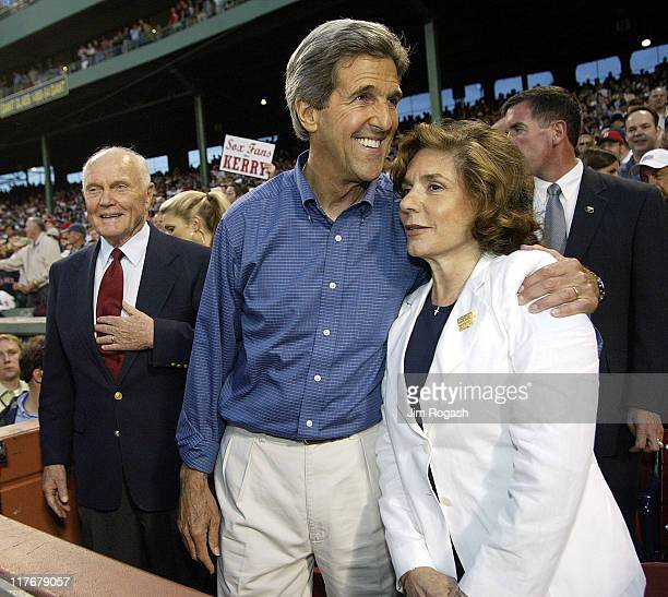 Former Senator John Glenn with Democratic presidential hope John Kerry and his wife Teresa Heinz Kerry at Fenway Park in Boston as the Boston Red Sox...