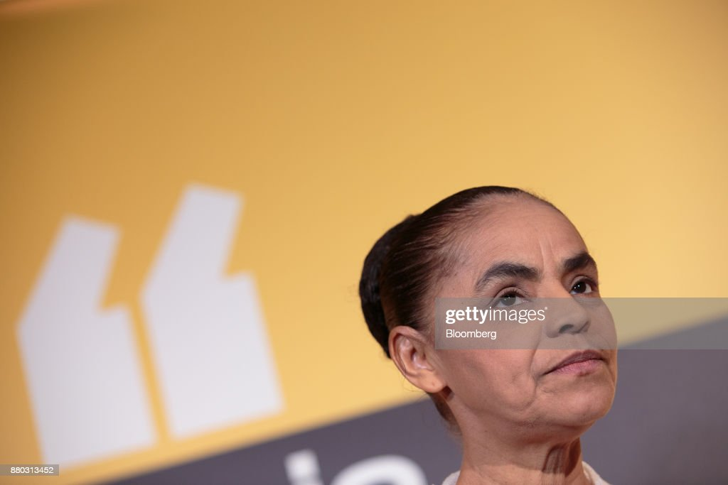 Former Senator Marina Silva pauses while speaking during the Veja Political Summit in Sao Paulo, Brazil, on Monday, Nov. 27, 2017. Gun ownership should be subsidized, police should face fewer investigations, and Brazil's tax burden should come down, right-wing presidential candidate Jair Bolsonaro told a gathering of business executives and reporters at the Veja event. Photographer: Patricia Monteiro/Bloomberg via Getty Images