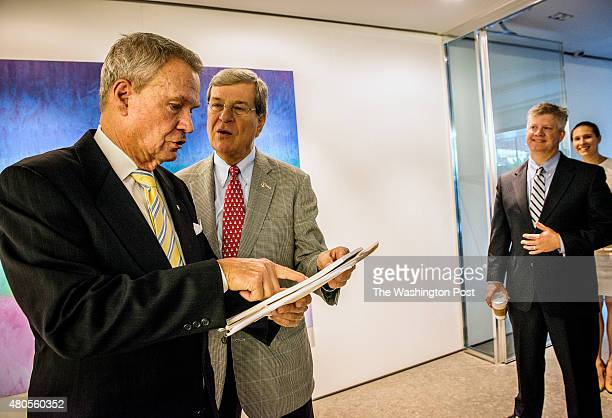 Former senators John Breaux, left, and Trent Lott at their lobbying firm, Squire Patton Boggs, on June 2015 in Washington, DC.
