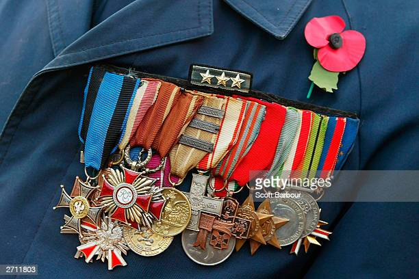 A former serviceman wears his medals as he prepares to march past The Cenotaph in Whitehall during the annual Remembrance Day service and parade...