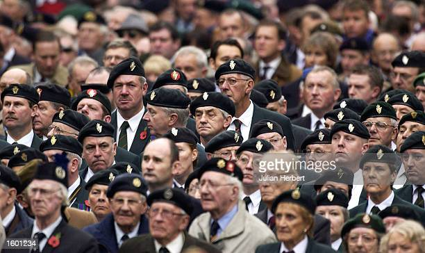 Former servicemen and women prepare to march past The Cenotaph in Whitehall during the annual Remembrance Day service and parade November 10 2002 in...
