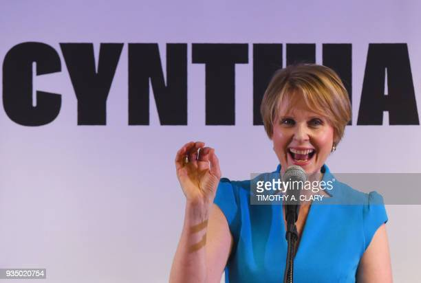 Former Sex and the City star Cynthia Nixon speaks to people at the Bethesda Healing Center in Brooklyn New York on March 20 2018 at her first event...