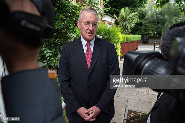 Former Shadow Foreign Secretary Hilary Benn eaves his home in West London and briefly speaks to a television reporter this morning on June 26 2016 in...
