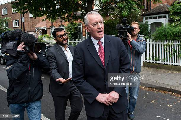Former Shadow Foreign Secretary Hilary Benn leaves his home in West London and briefly speaks to a television reporter this morning on June 26 2016...