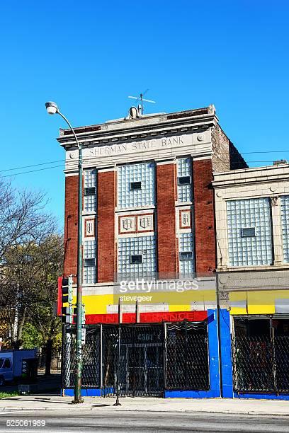 antiga sherman banco nacional, nova cidade de chicago - estilo do século 20 imagens e fotografias de stock