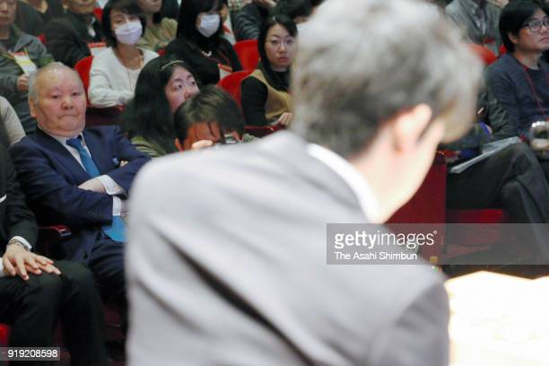 Former Shogi player Hifumi Kato watches Sota Fujii against Yoshiharu Habu in thesemifinal match of the Asahi Cup competition on February 17 2018 in...