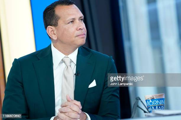 """Former shortstop and third baseman for the New York Yankees Alex Rodriguez """"A-Rod"""" visits """"Mornings With Maria"""" at Fox Business Network Studios on..."""