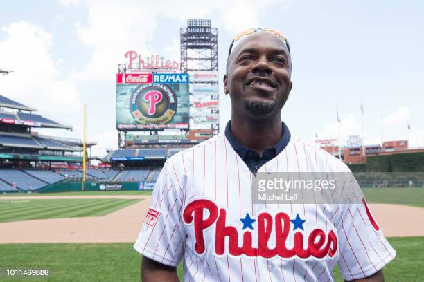 Former shortstop Jimmy Rollins of the Philadelphia Phillies looks on from the field prior to the game against the Miami Marlins at Citizens Bank Park...